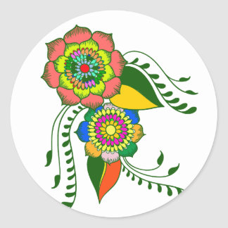 Pegatina Redonda flower mandala2