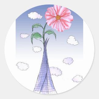 Pegatina Redonda Flower power de ShardArt de Tony Fernandes