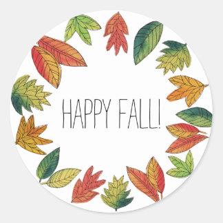 Pegatina Redonda Follaje de otoño feliz