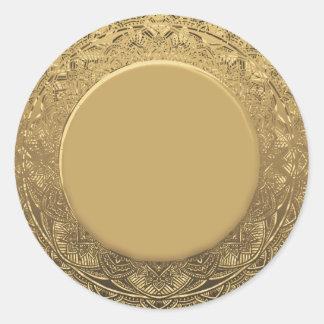 Pegatina Redonda Fondo de encargo de la mirada de la hoja de oro