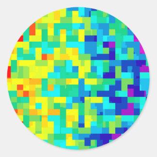 Pegatina Redonda Fondo inconsútil del modelo del pixel como