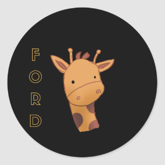 Pegatina Redonda Ford la jirafa