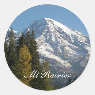 Pegatina Redonda Foto de la opinión del Monte Rainier