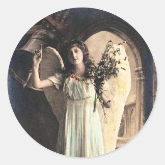 Pegatina Redonda Foto del ángel del vintage