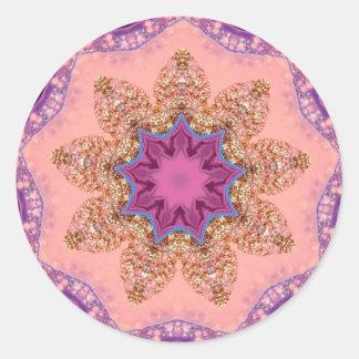 Pegatina Redonda Fractal bonito de la estrella de la lavanda