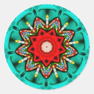 Pegatina Redonda Fractal de las luces de navidad del centelleo