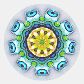 Pegatina Redonda Fractal iridiscente de Paua Shell