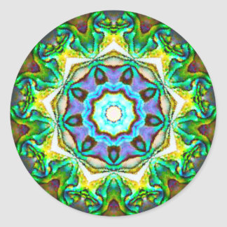 Pegatina Redonda Fractal iridiscente espiritual de Paua Shell