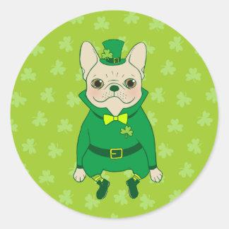 Pegatina Redonda Frenchie lindo afortunado el el día de St Patrick