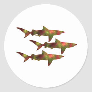 Pegatina Redonda Frenesí del tiburón