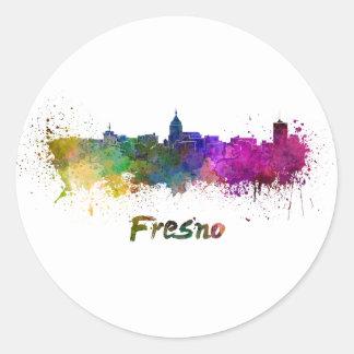 Pegatina Redonda Fresno skyline in watercolor