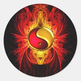 Pegatina Redonda Fuego en el equilibrio