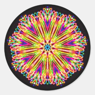 Pegatina Redonda Fuera de fractal de la mente