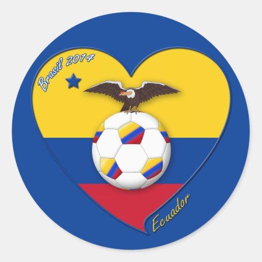 Pegatina Redonda Fútbol de ECUADOR. Ecuadorian National Team Soccer