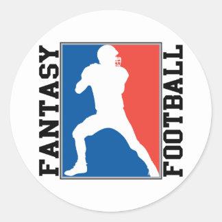 Pegatina Redonda Fútbol de la fantasía, logotipo blanco y azul rojo