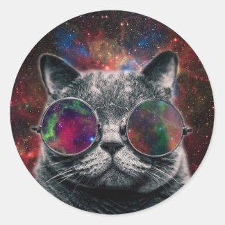 Pegatina Redonda Gafas que llevan del gato del espacio delante de