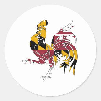 Pegatina Redonda Gallo de Maryland