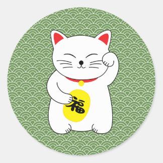 Pegatina Redonda Gato afortunado de Maneki Neko
