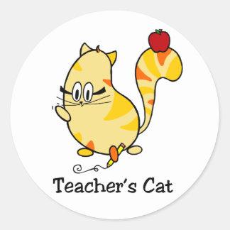 Pegatina Redonda Gato del dibujo animado del gato del profesor con
