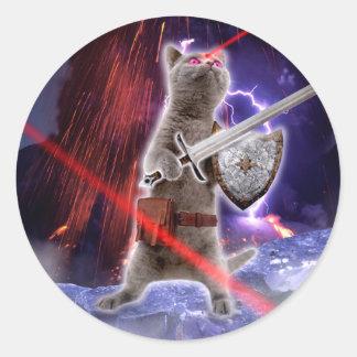Pegatina Redonda gatos del guerrero - gato del caballero - laser