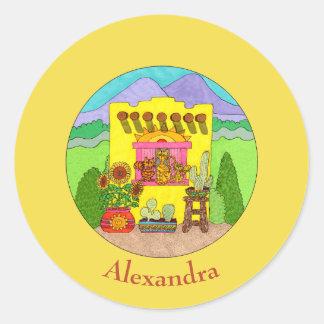 Pegatina Redonda Gatos y nombre amarillo del personalizado de la