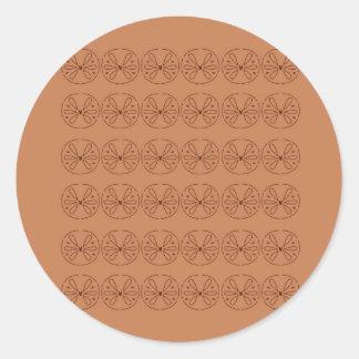 Pegatina Redonda Gente marrón de los elementos del diseño