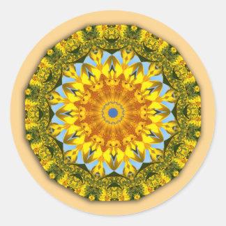 Pegatina Redonda Girasoles, mandala 004 de la naturaleza