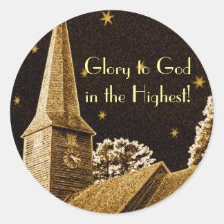 Pegatina Redonda ¡Gloria a dios en el más alto!