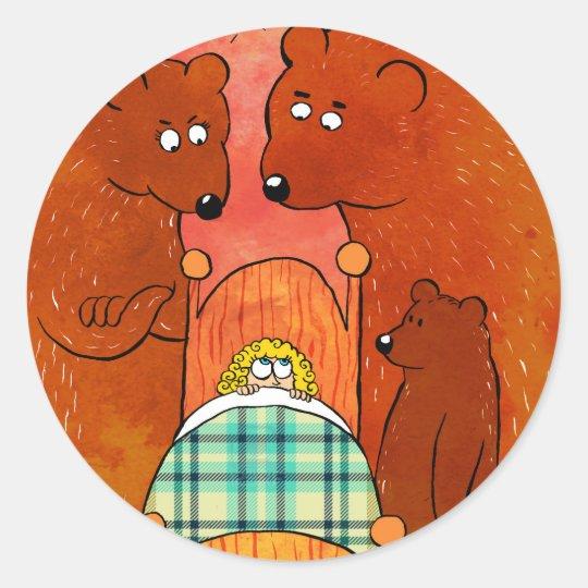 Pegatina Redonda Goldilocks and the Three Bears