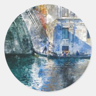 Pegatina Redonda Góndola en el Gran Canal de Venecia Italia