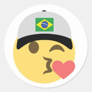 Pegatina Redonda Gorra de béisbol del Brasil Emoji