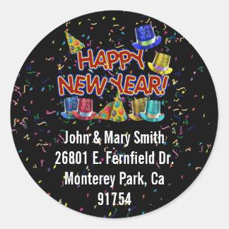 Pegatina Redonda Gorras del fiesta de la Feliz Año Nuevo