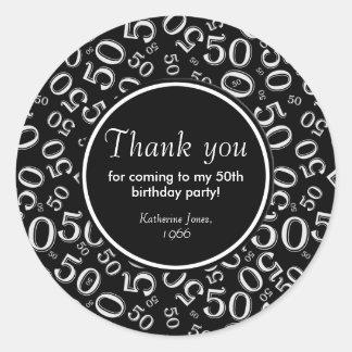 Pegatina Redonda Gracias: 50.a fiesta de cumpleaños blanco y negro