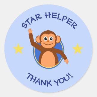 Pegatina Redonda Gracias azul del mono del ayudante de los