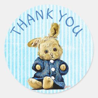 Pegatina Redonda Gracias los pegatinas azules del conejo del