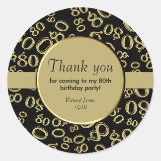 Pegatina Redonda Gracias: Oro y 80.a fiesta de cumpleaños del negro