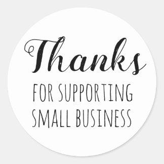 Pegatina Redonda Gracias por apoyar pequeña empresa