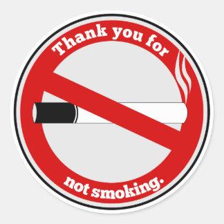 Pegatina Redonda Gracias por no fumar