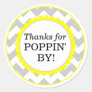 Pegatina Redonda Gracias por Poppin cerca, fiesta de bienvenida al