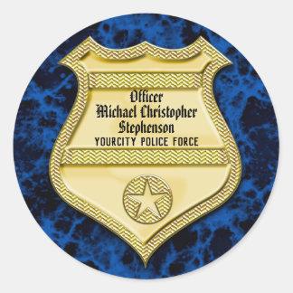Pegatina Redonda Graduación de la policía de la insignia/fiesta de