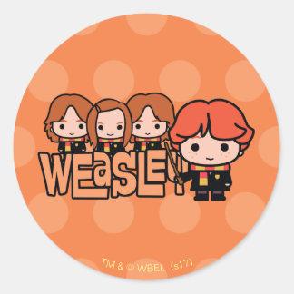 Pegatina Redonda Gráfico de Weasley Siblilings del dibujo animado