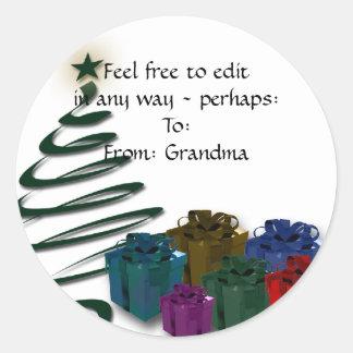 Pegatina Redonda Gráfico moderno del árbol de navidad con los