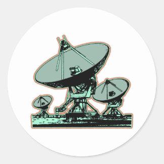 Pegatina Redonda Gráfico retro de la antena parabólica