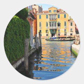 Pegatina Redonda Gran Canal, Venecia, Italia