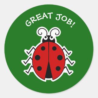 Pegatina Redonda Gran verde de los profesores de la mariquita del