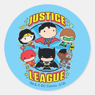Pegatina Redonda Grupo de la liga de justicia de Chibi
