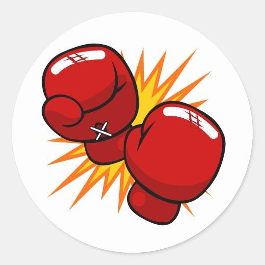 pegatina redonda guantes de boxeo del dibujo animado zazzle es