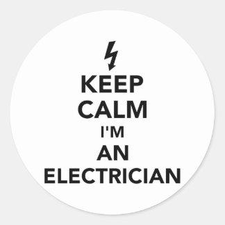 Pegatina Redonda Guarde la calma que soy electricista