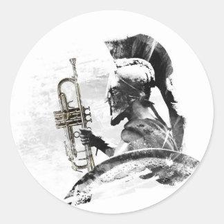 Pegatina Redonda Guerrero de la trompeta