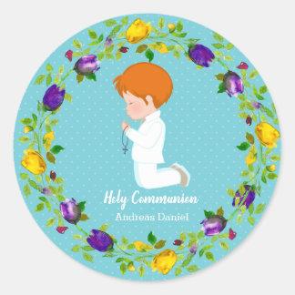Pegatina Redonda Guirnalda de la comunión santa * elija el color de